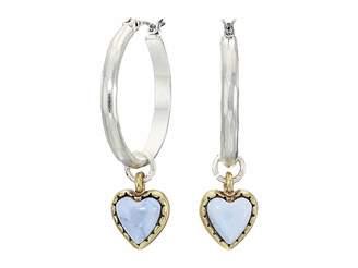 Lucky Brand Gold Heart Charm Hoop Earrings