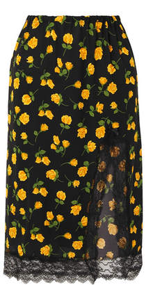 Michael Kors Lace-trimmed Floral-print Silk-crepe Skirt - Yellow