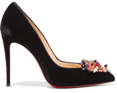 Christian Louboutin Iva Cora 100 Embellished Velvet Point-toe Pumps - Black