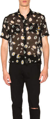 Saint Laurent Short Sleeve Daisy Print Shirt