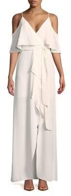 Halston H Ruffled Cold-Shoulder Dress