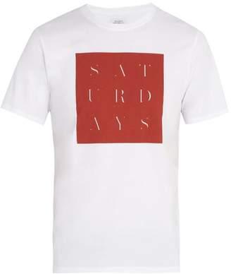 Saturdays NYC Stencil Grid Print Cotton T Shirt - Mens - White