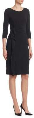 Emporio Armani Matte Jersey Side Ruffle Sheath Dress