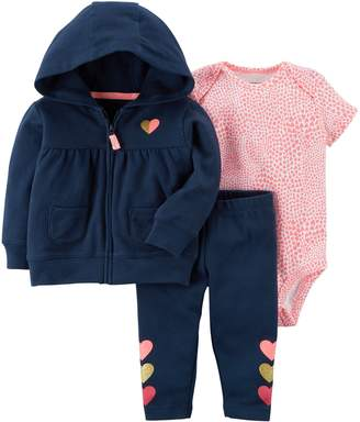 Carter's Baby Girl Heart Jacket, Bodysuit & Leggings Set
