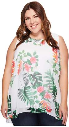 Vince Camuto Specialty Size Plus Size Sleeveless Havana Tropical High-Low Hem Blouse Women's Blouse