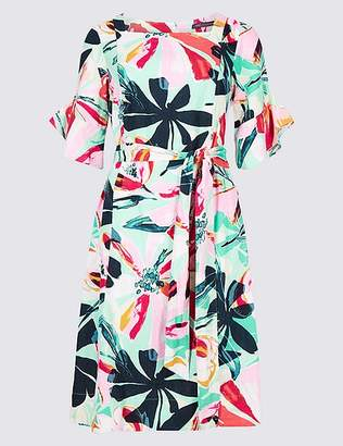Marks and Spencer Linen Blend Floral Print Tunic Dress