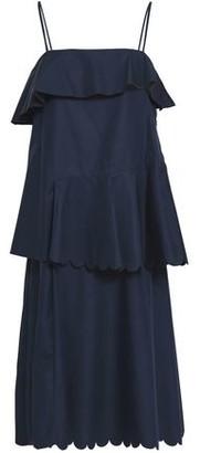 See by Chloe Layered Scalloped Cotton-Poplin Dress