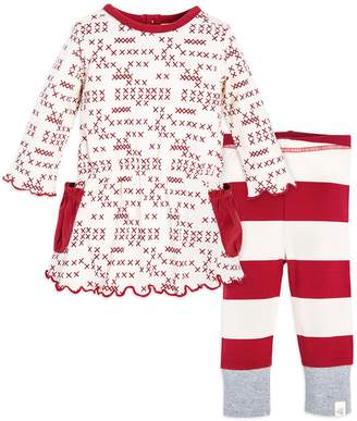 Burt's Bees Baby Baby Girl Baby Organic Cross-Stitch Print Dress & Striped Leggings Set