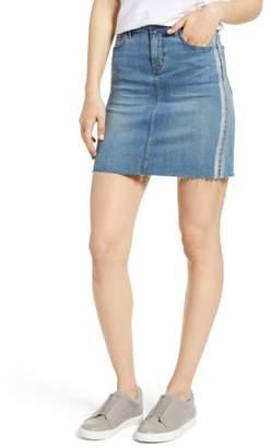 Sam Edelman The Jenny Metallic Stripe Denim Miniskirt
