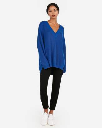 Express Oversized Shaker Knit Deep V-Neck Tunic Sweater