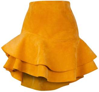 Siobhan Molloy - Lashes Tangerine Calf Suede Skirt