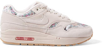 Nike Air Max 1 Suede And Floral-print Satin Sneakers - Beige
