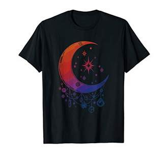 Womens Crystals and Stars Witchs Moon Spiritual Graphic Gift T-Shirt
