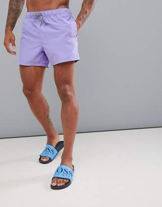 Asos DESIGN swim shorts in lilac short length with black & white drawcord