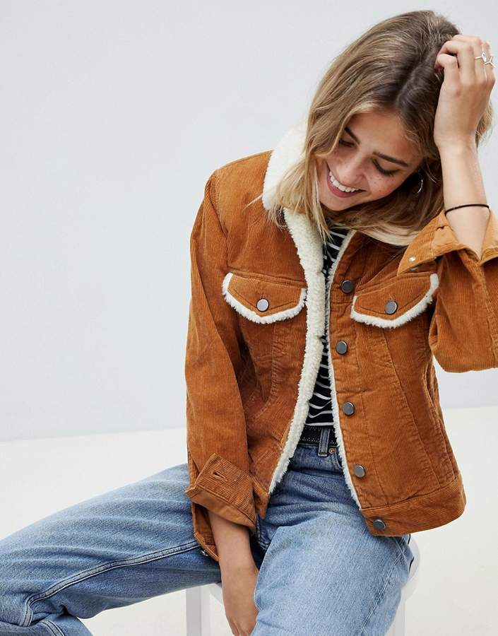 ASOS DESIGN cord jacket with fleece collar in rust brown