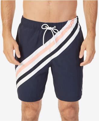 "Nautica Men's Big & Tall Quick-Dry Striped 8"" Swim Trunks"