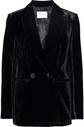 Sandro Alec Double-Breasted Velvet Blazer