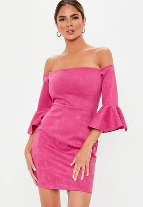 Missguided Pink Faux Suede Bardot Mini Dress