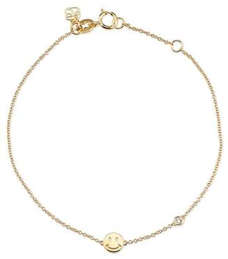 Sydney Evan Syd by 14K Yellow Gold Plated Sterling Silver Diamond Happy Face Bracelet - 0.015 ctw