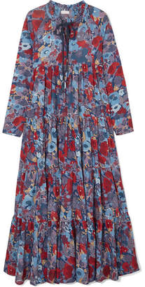 Eywasouls Malibu - Cora Tiered Floral-print Cotton-voile Maxi Dress - Blue