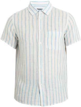 FRESCOBOL CARIOCA Short-sleeved striped linen shirt