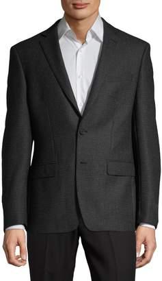Calvin Klein Notch Lapel Wool-Blend Suit Jacket