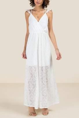 francesca's Kiera Ruffle Sleeve Lace Maxi Dress - Olive