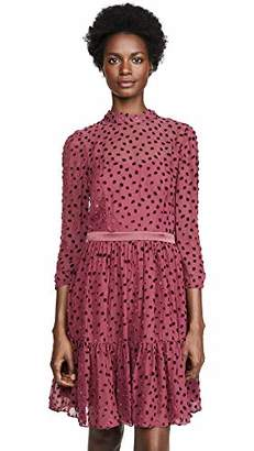 Rebecca Taylor Women's Long Sleeve Velvet Polka Dot Mini Dress