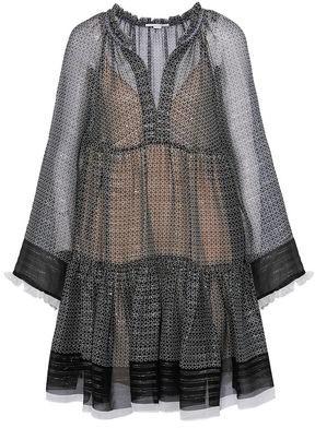 Stella McCartney Metallic Silk-Blend Chiffon Mini Dress