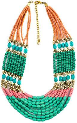Decree Multicolor Bead Gold-Tone Statement Necklace