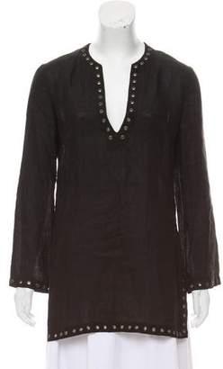 Celine Embellished Linen Tunic