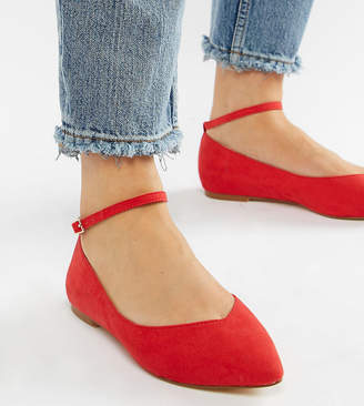 Faith Wide Fit Ally Red Pointed Flat Shoes