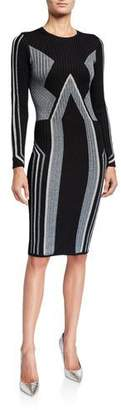 Ted Baker Graphic Block Long-Sleeve Knitted Bodycon Dress
