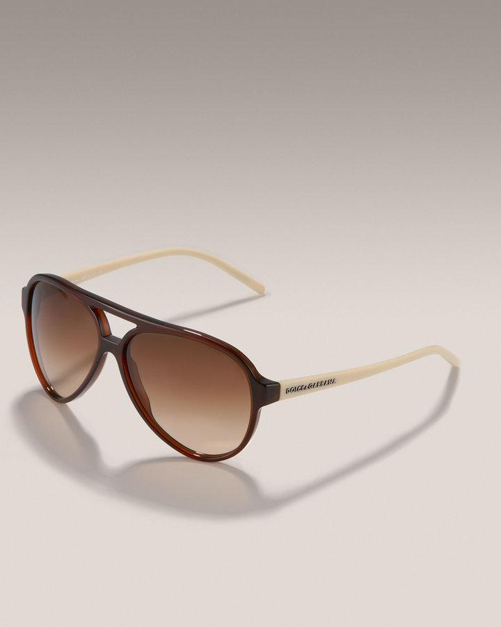 Dolce & Gabbana Aviator Sunglasses, Shiny Black