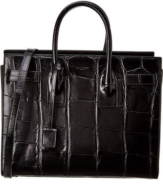 Saint Laurent Classic Sac De Jour Croc Embossed Leather Tote