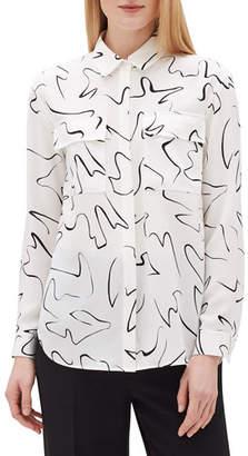 Lafayette 148 New York Plus Size Zora Scribble Print Long-Sleeve Silk Blouse