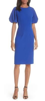 Milly Kyle Puff Sleeve Cady Sheath Dress