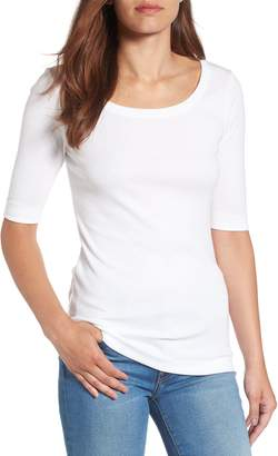Caslon Ballet Neck Cotton & Modal Knit Elbow Sleeve Tee