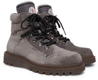 Moncler Egide Shearling-Lined Suede Walking Boots - Men - Gray