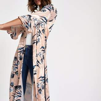 River Island Womens Pink floral jacquard flute sleeve duster coat