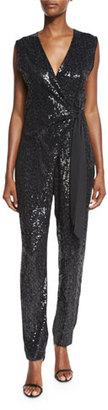 Diane von Furstenberg Orianna Sequined Wrap Jumpsuit $998 thestylecure.com
