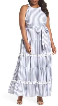 Eliza J Tiered Stripe Halter Maxi Dress