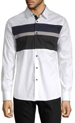 Karl Lagerfeld Long Sleeve Colorblock Shirt
