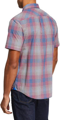 Original Penguin Men's Short-Sleeve Mini Plaid Button-Fron Shirt