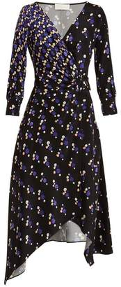 Peter Pilotto Graphic Spot Print Silk Wrap Dress - Womens - Navy Multi