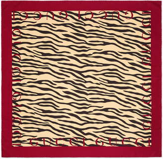 Gucci Tiger Stripe & Logo Print Silk Scarf