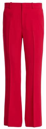 Gucci High Rise Flared Cropped Stretch Cady Trousers - Womens - Pink