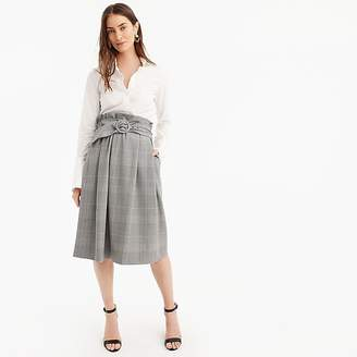 J.Crew Belted midi skirt in plaid