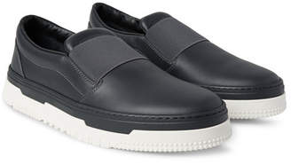 59af54877e3 Valentino Rubberised-Leather Slip-On Sneakers - Men - Dark gray