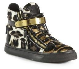 Giuseppe Zanotti Leopard-Print Calf Hair & Leather Lace-Up Sneakers